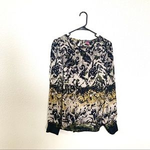 Vince Camuto Satin Long Sleeve Patterned Blouse M